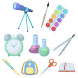 Set of pictures about the school. Study training. Supplies for school.Outfit of the student. School and eduacation icon Stock Photography