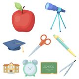 Set of pictures about the school. Study training. Supplies for school.Outfit of the student. School and eduacation icon Royalty Free Stock Photo