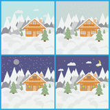 Set with pictures of ski landscape and chalet in mountains with snow and trees day and night with snowfall Stock Photos
