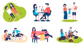 A set of pictures on the theme of family spending time together. stock illustration
