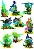Set of pictures of the tropical underwater world on a white background. stock illustration