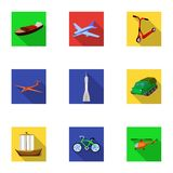 Set of pictures about types of transport. Transportation of people, cargo. Ground, underwater, air transport. Transport Stock Image