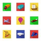 Set of pictures about types of transport. Transportation of people, cargo. Ground, underwater, air transport. Transport Royalty Free Stock Image
