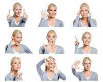 Set of pictures of woman with different gestures and emotions. Set of nine pictures of pretty young woman with different gestures and emotions, isolated on white Royalty Free Stock Photos