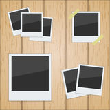 Set of pictures on a wooden texture. Photo frame. poloroid vector stock illustration
