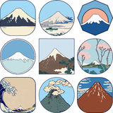 Set of picturesque sketches of Mount Fuji Royalty Free Stock Photography