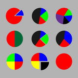 Set of pie chart color flat Stock Photos