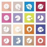 Set of 16 Pie Chart Icons Banner. Flat Icons, Illustration Collection of 16 Infographics Elements Business Pie Chart and Graph Icon Labels Stock Images
