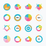 Set of pie chart icons in modern thin flat style. Stock Image