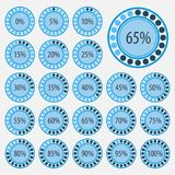 Set of pie charts for business infographics.Progress bar for web design.3d infographic elements.Blue style. Vector abstract 3d paper infographic elements vector illustration