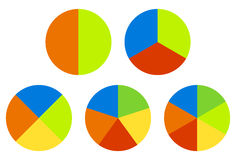 Set pie charts, graphs in 2,3,4,5,6 segments. Segmented circles. Colorful icons. - Royalty free vector illustration Royalty Free Stock Photos
