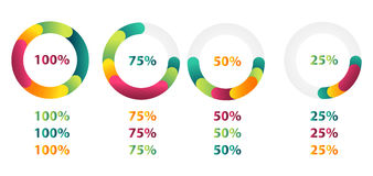Set of 4 pie charts Royalty Free Stock Photo