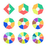 Set of pie charts with straight edges. Sectoral angular graphs in flat style. Colorful elements for infographics. Vector Stock Photography