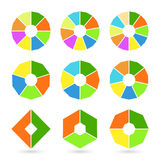 Set of pie charts with straight edges. Sectoral angular graphs in flat style. Colorful elements for infographics. Vector Royalty Free Stock Photo