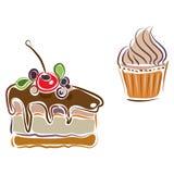 Set of piece of cake and cupcake Stock Image