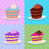 Set a piece of cake on a plate. Cake on a bright background. Str Stock Photos