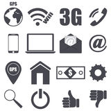 Set of pieces plane icons relating to technology Stock Photography