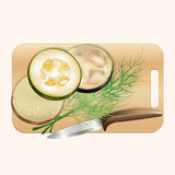 Set of pieces of vegetables on a chopping board. Vector illustration Royalty Free Stock Images