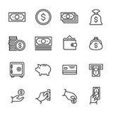 Set 16 pieniędzy cienkich kreskowych ikon Fotografia Royalty Free