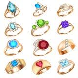 Set pierścionki z cennymi kamieniami na białym tle ilustracji
