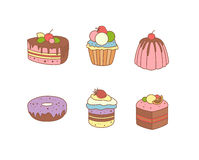 Set of pies and flour products from bakery or. Delicious delicious sweet desserts vector illustration colored Royalty Free Stock Photo