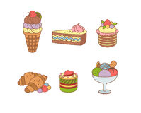 Set of pies and flour products from bakery or. Delicious delicious sweet desserts vector illustration colored Stock Photography