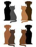 Set pies i kot sylwetki royalty ilustracja