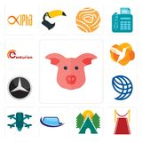 Set of pig face, carpet, campsite, auto glass, quadcopter, wire globe, mercedes, humming bird, centurion icons. Set Of 13 simple editable icons such as pig face Royalty Free Stock Photos