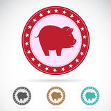 Set of  a pig label Royalty Free Stock Image