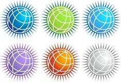 set pigg för jordklotsymbol royaltyfri illustrationer