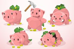 Set of piggy bank in different situations. Set of five pigs, piggy banks in different situations with different emotions. From piggy banks filled to piggy bank Stock Photo