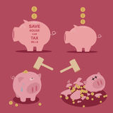 Set of Piggy bank  saving money Stock Photo