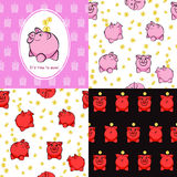 Set of Piggy Moneybox seamless pattern With Coins. Vector  Royalty Free Stock Photography