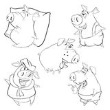 A set of pigs. Coloring book Royalty Free Stock Photography