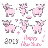 Set of Pigs cute doodle pencil hand drawing. Inscription sticker Happy New Year. Chinese year sign piglet 2019. Vector. Set of Pigs cute doodle pencil hand vector illustration