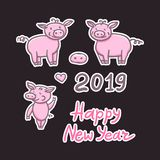 Set of Pigs cute doodle pencil hand drawing. Inscription sticker Happy New Year. Chinese year sign 2019. Vector. Set of Fun Pigs cute doodle pencil hand drawing stock illustration