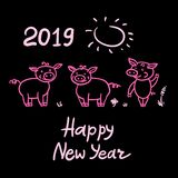 Set of Pigs cute doodle pink pencil hand drawing. Inscription Happy New Year. Chinese year sign 2019. Vector. Set of Pigs cute doodle pencil hand drawing vector illustration