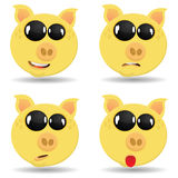 Set pigs with different emotions . Royalty Free Stock Photos