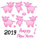Set of Pigs pink cute doodle pencil hand drawing. Inscription Happy New Year. Chinese year sign piglet 2019. Vector. Set of Pigs pink cute doodle pencil hand stock illustration