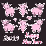 Set of Pigs pink cute doodle pencil hand drawing. Inscription sticker Happy New Year. Chinese year sign piglet 2019. Set of Pigs pink cute doodle pencil hand stock illustration