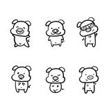 Set of pigs in various posture doodle style only outline vector illustration