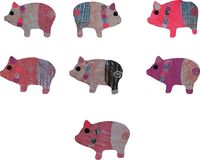 A set of pigs watercolor collage of handmade paper and painting. stock illustration