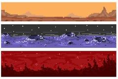 Set piksla extraterrestrial bezszwowi krajobrazy Obrazy Royalty Free
