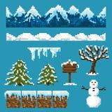 Set piksli elementy dla tworzyć zima krajobraz Zdjęcia Stock