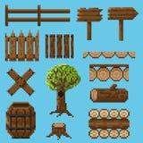 Set piksli przedmioty robić drewno tworzyć krajobraz Zdjęcie Stock