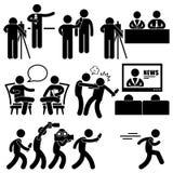 Wiadomość reportera kotwicy kobiety newsroomu piktogram ilustracji