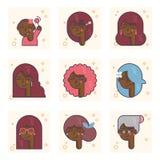 Set piktogramy z amerykanin afrykańskiego pochodzenia osobą różni wieki Od dziewczynki dorosłej kobiety wektoru pojęcie royalty ilustracja