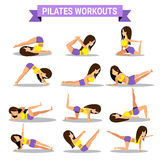 Set of pilates workouts design Royalty Free Stock Image