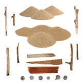 Set pile desert sand, branches and screw heads Royalty Free Stock Photo