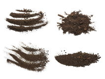 Set pile dirt isolated on white background Royalty Free Stock Photos